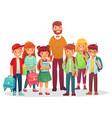 junior high school kids and teacher man and happy vector image vector image
