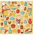 Kitchen set cartoon colorful elements vector image