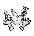 line hands with dove animal and branch with leaves vector image vector image