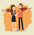 music festival live with couple playing violins vector image vector image