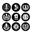 number one labels on black icons vector image vector image