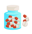 pills in bottle medicine and healthcare capsules vector image