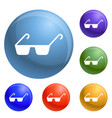 polycarbonate glasses icons set vector image