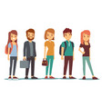 queue of young people waiting women and men vector image