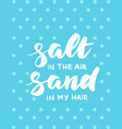 salt in the air sand in my hair summer card vector image vector image