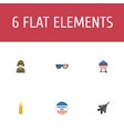 set of day icons flat style symbols with bbq vector image