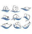 Set of fish icons vector image vector image