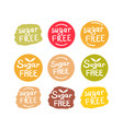 set of round green labels with text sugar free vector image