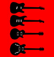 silhouette guitar collection vector image vector image