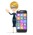 smiling woman with smartphone standing on white vector image vector image