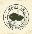 Stamp with map of Czech Republic vector image