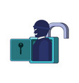 thief man in padlock security vector image vector image