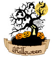 tree silhouette with halloween banner vector image