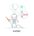 welder welding machine and keeps thinking about vector image vector image