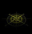wind rose yellow perspective vector image vector image