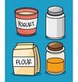 collection flour yogurt salt honey icons design vector image
