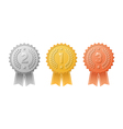 Gold silver bronze award badges with ribbons set vector image