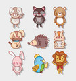 cute animals doodle cartoons vector image