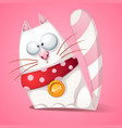 funny cute crazy cartoon cat vector image