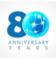 80 anniversary connecting logo vector image