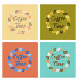 assembly flat icons bean coffee time logo vector image vector image