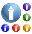baby bottle icons set vector image