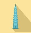 blue tower icon flat style vector image vector image