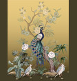 border in chinoiserie style with herons peacock vector image vector image