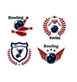 Bowling emblems or badges vector image