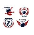 Bowling emblems or badges vector image vector image