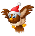 cartoon owl wearing santa cap vector image vector image