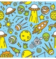 Cartoon space ufo aliens seamless pattern vector image