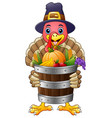 cartoon turkey with basket full of fruits and vege vector image