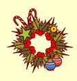 christmas wreath icon garland hand drawn holiday vector image vector image