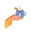 cocoa with melted marshmallows hot drink vector image