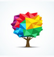 colorful tree icon geometric polygon design vector image vector image