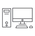 computer thin line icon desktop and monitor pc vector image vector image