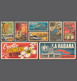 cuba travel culture and landmarks retro banners vector image vector image