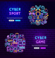 cyber game neon banners vector image vector image