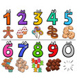 educational cartoon numbers set with sweets vector image vector image