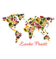 exotic fruit world map poster for food design vector image vector image