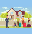family buys house flat vector image