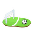 football ball on green stadium grass cartoon vector image vector image