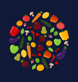 fruit and vegetable circle on a dark background vector image vector image