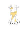 giraffe logo original cute animal badge easy vector image vector image