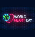 glowing neon medicine concept sign with heart vector image vector image