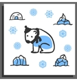 Greeting card template with cute doodle polar bear vector image vector image