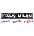 grunge italy milan textured rectangle watermarks vector image vector image
