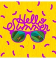 Hello summer sunglasses with tropical island vector image vector image
