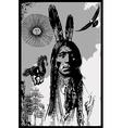 Indian Warrior Sitting Bull portrait - Freehand
